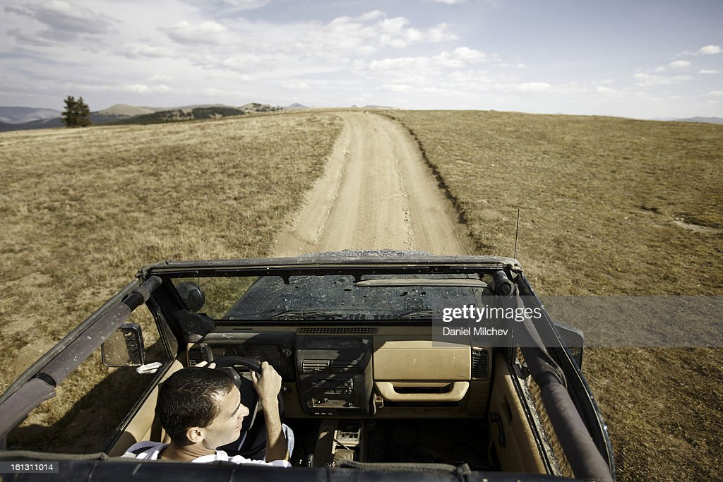 Offroad adventure down the road. : Stock Photo