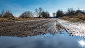 Sunny spring landscape with the muddy path in deserted military area with trees and blue sky