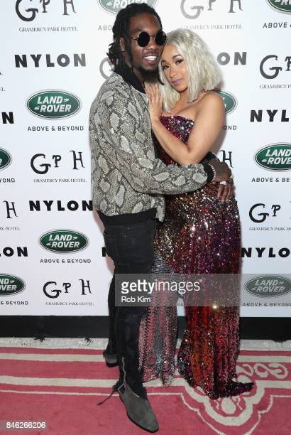 Offset and Cardi B attend NYLON's Rebel Fashion Party powered by Land Rover at Gramercy Terrace at Gramercy Park Hotel on September 12 2017 in New...