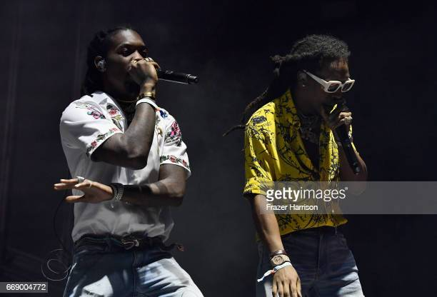 Offset and Takeoff of Migos perform at the Outdoor Stage during day 2 of the Coachella Valley Music And Arts Festival at the Empire Polo Club on...