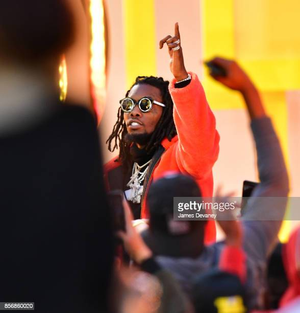 Offset of Migos performs in Times Square for MTV's 'TRL' on October 2 2017 in New York City