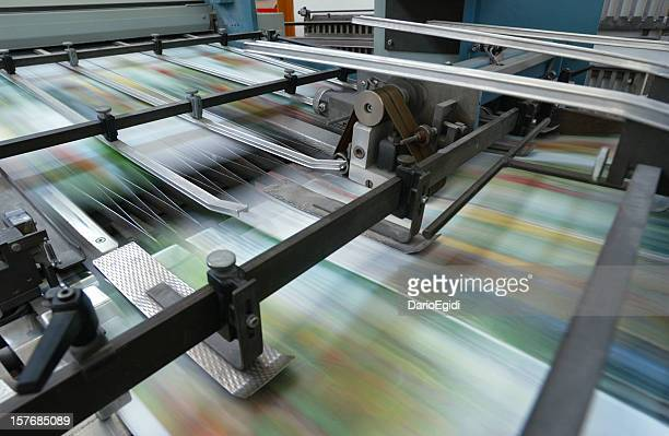 Offset printing machine while it's running, close-up