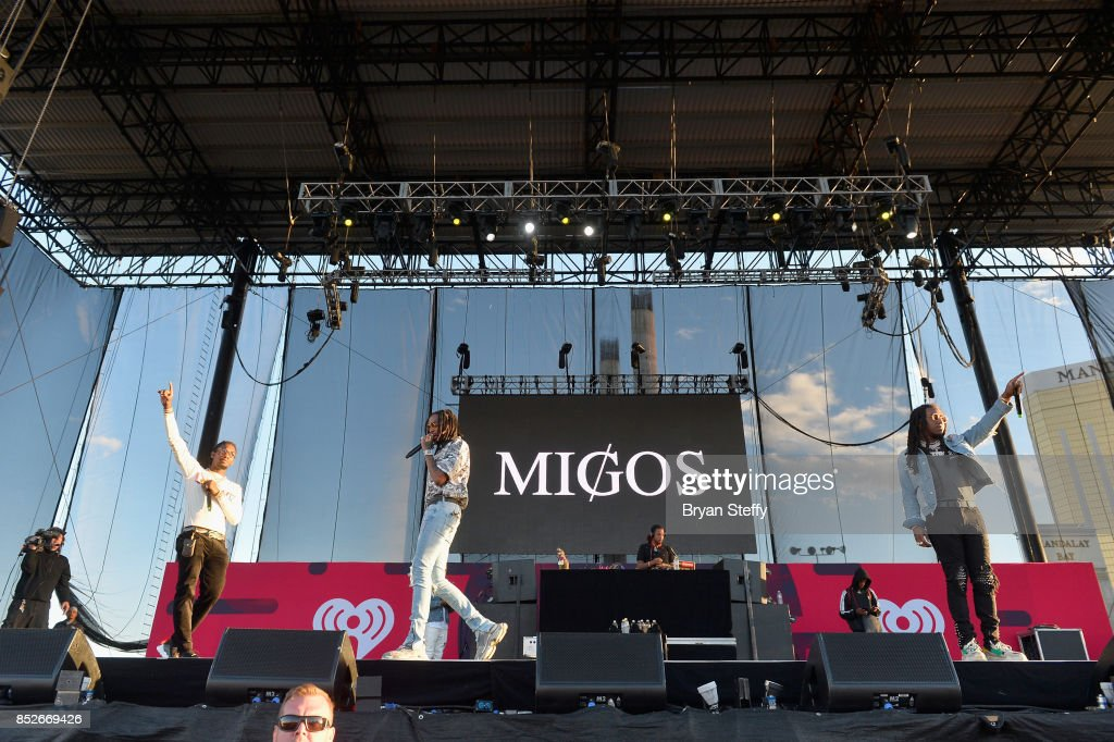 Offset, Quavo and Takeoff of Migos perform onstage during the Daytime Village Presented by Capital One at the 2017 HeartRadio Music Festival at the Las Vegas Village on September 23, 2017 in Las Vegas, Nevada.