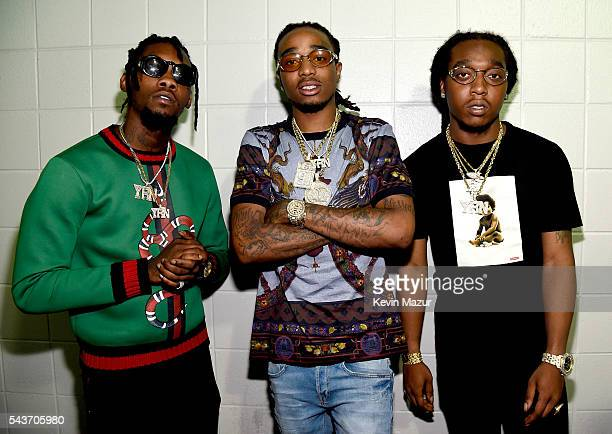 Offset Quavo and Takeoff of Migos pose backstage during the kick off the 2016 Honda Civic Tour Future Now at Philips Arena on June 29 2016 in Atlanta...