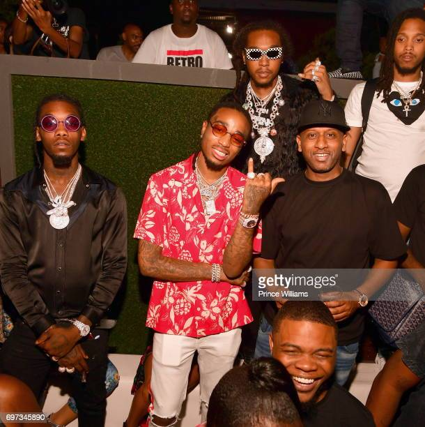Offset Quavo Takeoff of the Group Migos and Alex Gidewon attend Birthday Bash After Party Featuring the Migos at Compound on June 18 2017 in Atlanta...