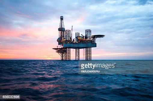 Offshore Jack Up Rig in The Middle of The Sea : Stock Photo