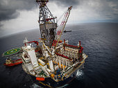Offshore oil drilling rig or platform, aerial view, petroleum industry in gulf of mexico
