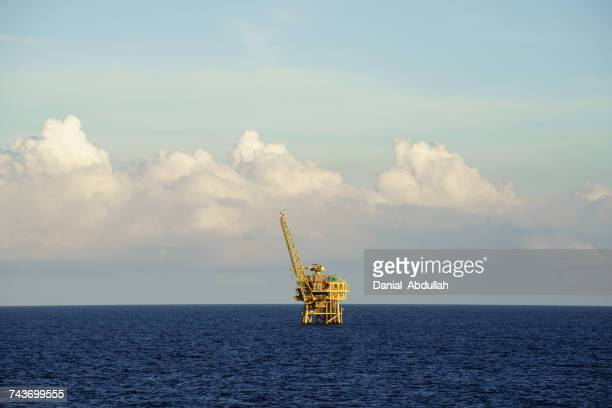 Offshore oil processing platform at sea
