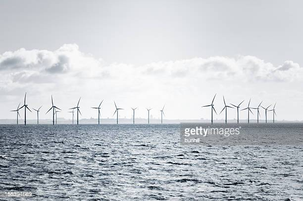 offshore wind farm turbines in the Mersey estuary