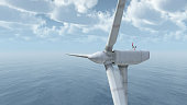 Computer generated 3D illustration with an offshore wind turbine