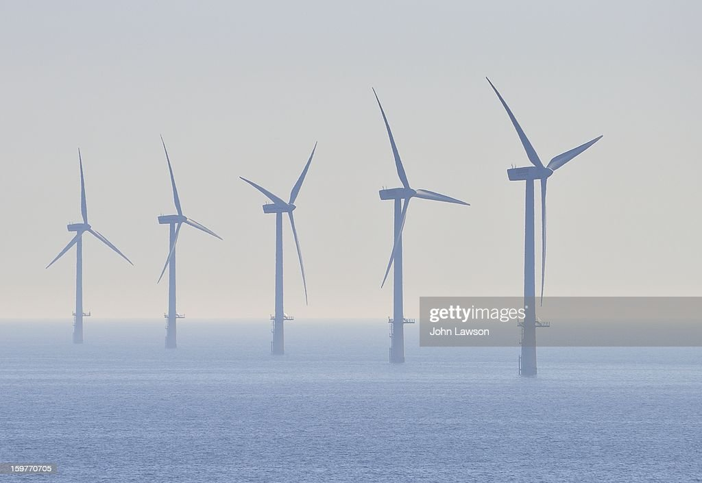 CONTENT] Offshore windmills in the North Sea. Part of a wind turbine farm that generates green electricity. These are situated between England and The Netherlands in the North Sea. Wind power has been widely adopted in Europe.