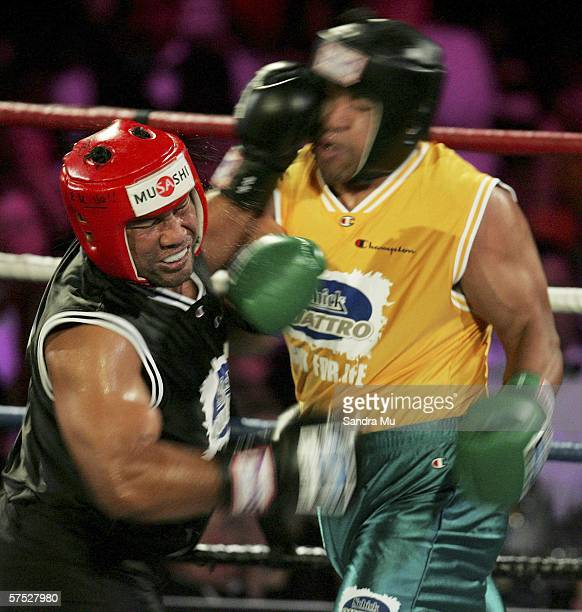 Ofisa Tonu'u of New Zealand throws a punch at John Hopoate of Australia during the 'Fight for Life' charity boxing at Trusts Stadium May 04 2006 in...