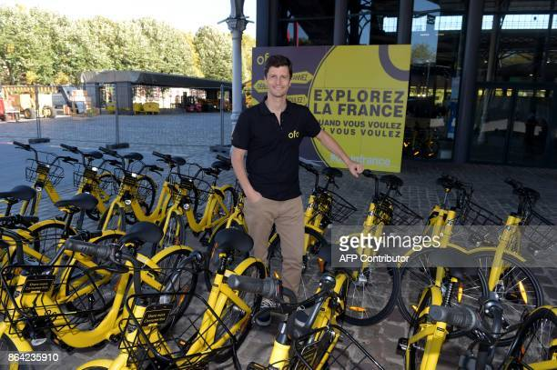 Ofo General Manager for France Laurent Kennel poses while presenting Chinese stationfree bike sharing platform OFO Bicycles at the 'Autonomy and the...