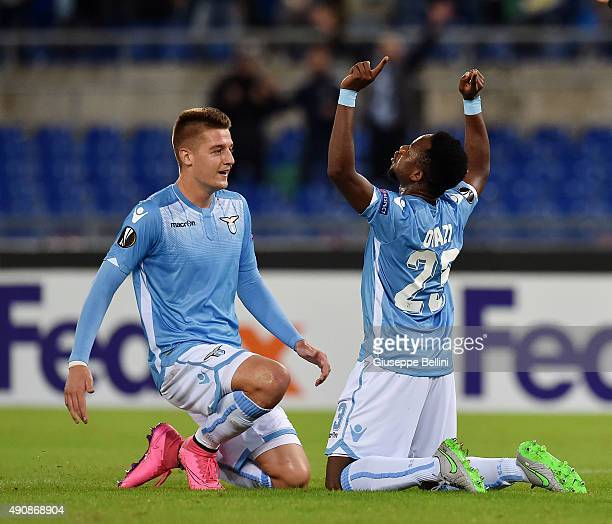 Ogennyi Onazi of SS Lazio celebrates after scoring the goal 11 with his teammates Sergej Milinkovic Savic during the UEFA Europa League match between...
