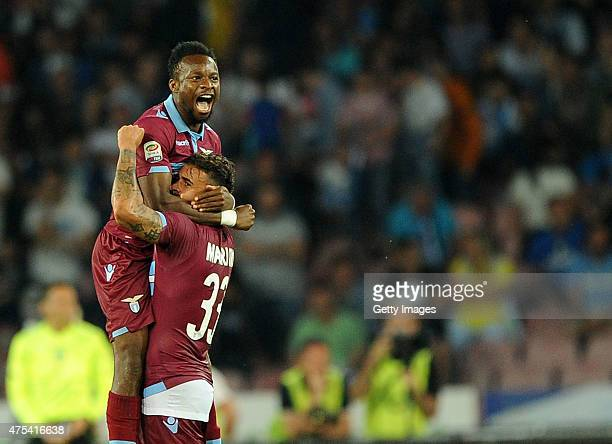 Ogenyi Onazi of Lazio celebrates scoring a goal with teammate Mauricio during the Serie A match between SSC Napoli and SS Lazio at Stadio San Paolo...