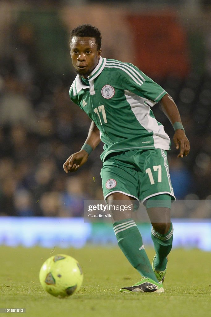 Ogenyi Onazi of Nigeria in action during the international friendly match between Italy and Nigeria at Craven Cottage on November 18, 2013 in London, England.