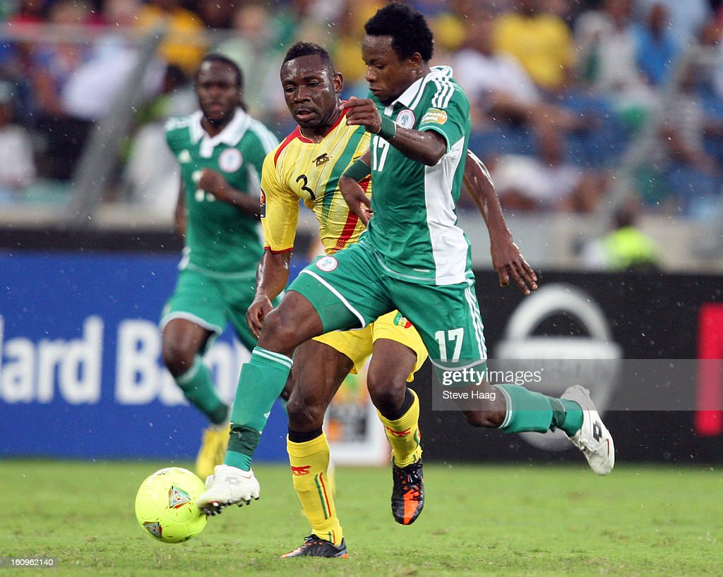 Ogenyi Onazi of Nigeria on attack during the 2013 African Cup of Nations Semi-Final match between Mali and Nigeria at Moses Mahbida Stadium on February 06, 2013 in Durban, South Africa.