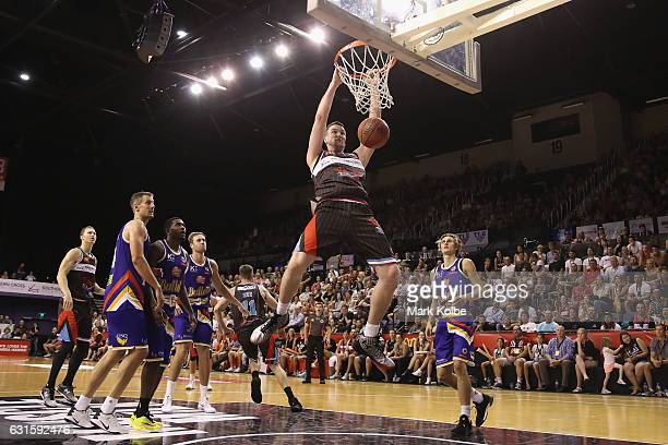 Ogilvy of the Hawks dunks during the round five NBL match between the Illawarra Hawks and the Brisbane Bullets at WIN Entertainment Centre on January...