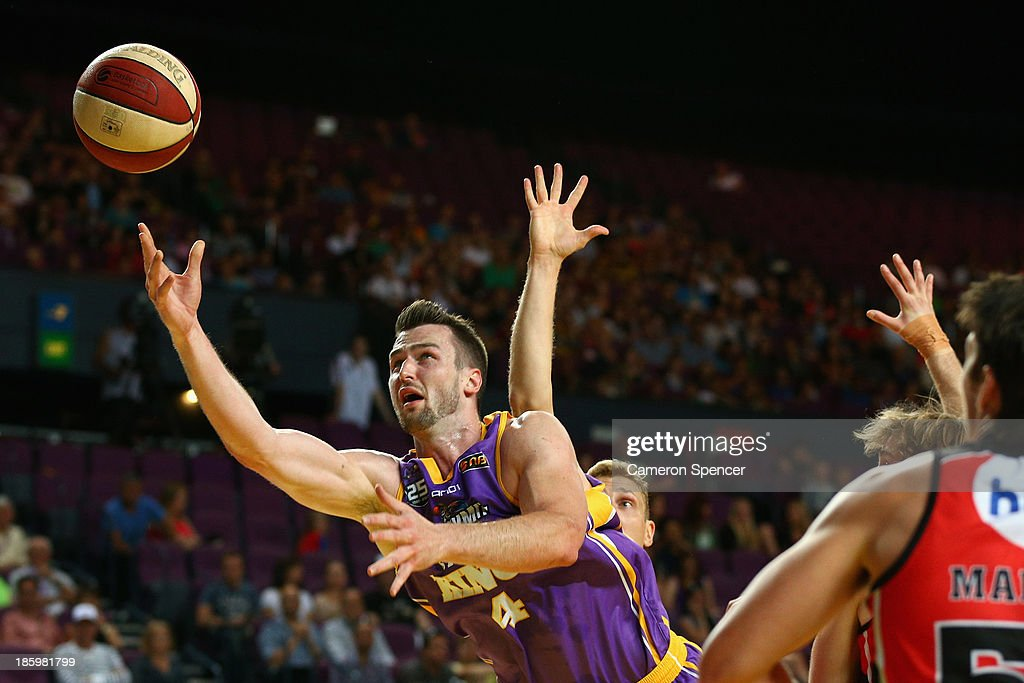 AJ Ogilvy of the Kings lays the ball up during the round three NBL match between the Sydney Kings and the Perth Wildcats at Sydney Entertainment Centre in October 27, 2013 in Sydney, Australia.
