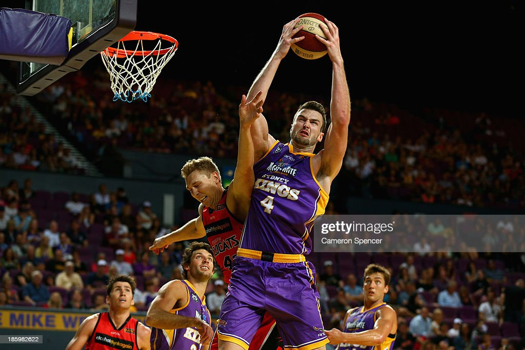 AJ Ogilvy of the Kings takes a rebound during the round three NBL match between the Sydney Kings and the Perth Wildcats at Sydney Entertainment Centre in October 27, 2013 in Sydney, Australia.