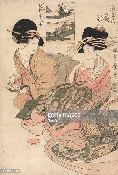 Kayoi kuruwa sakari hakkei Eight views of the busy path to Yoshiwara Between 1804 and 1806 Woodcut color 392 x 262 cm