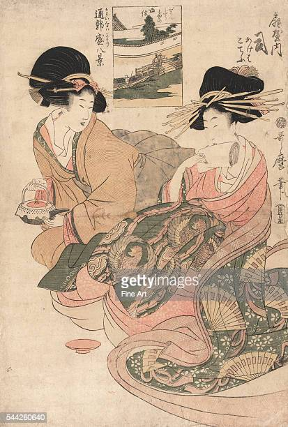 Kayoi kuruwa sakari hakkei Eight views of the busy path to Yoshiwara Between 1804 and 1806 Woodcut color 392 x 262 cm