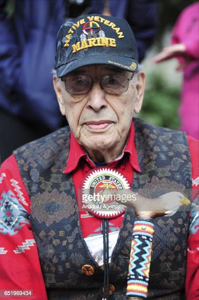 Oglala Lakota Marine veteran Buzz Nelson takes part in a protesters to show solidarity with the 'Native Nations Rise' march on Washington DC against...