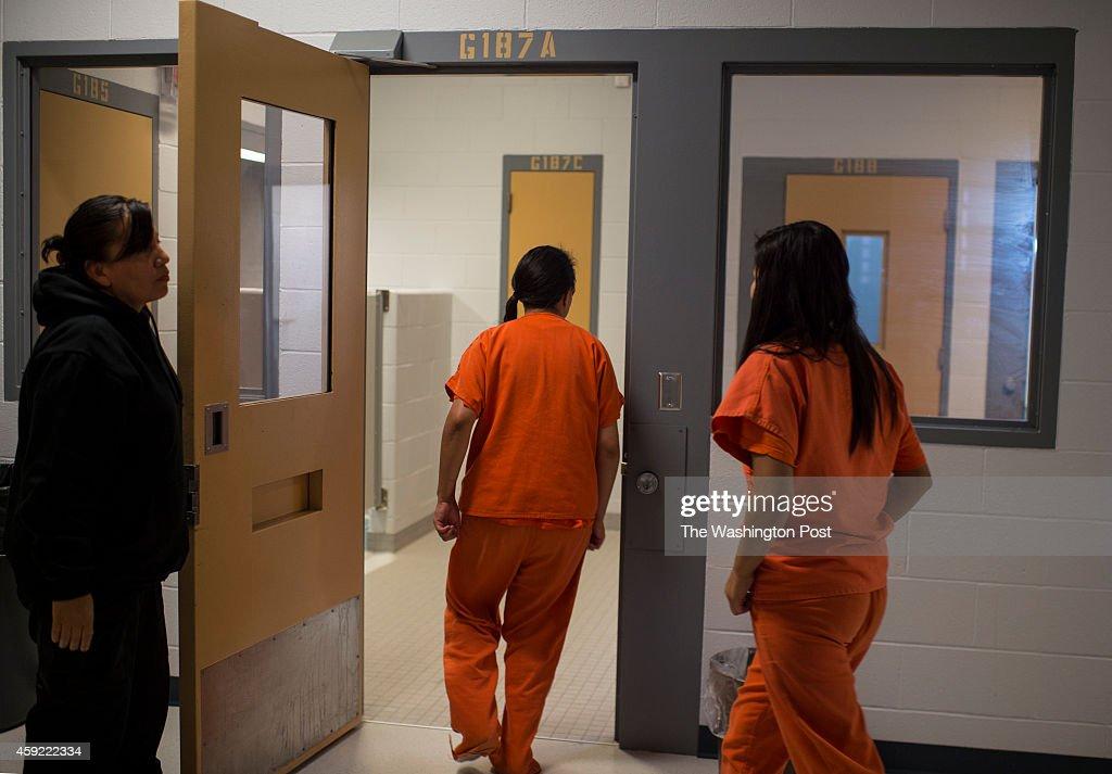 Oglala Lakota teenagers enter their high security cells at the Kiyuksa O'Tipi Reintegration Center a juvenile detention center in Kyle South Dakota...