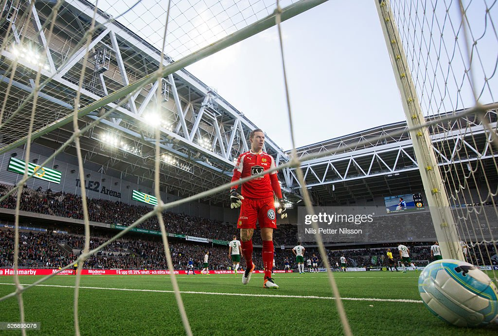 Ogmundur Kristinsson, goalkeeper of Hammarby IF dejected after Runar Mar Sigurjonsson of GIF Sundsvall scored to 1-1 during the Allsvenskan match between Hammarby IF and GIF Sundsvall at Tele2 Arena on May 1, 2016 in Stockholm, Sweden.