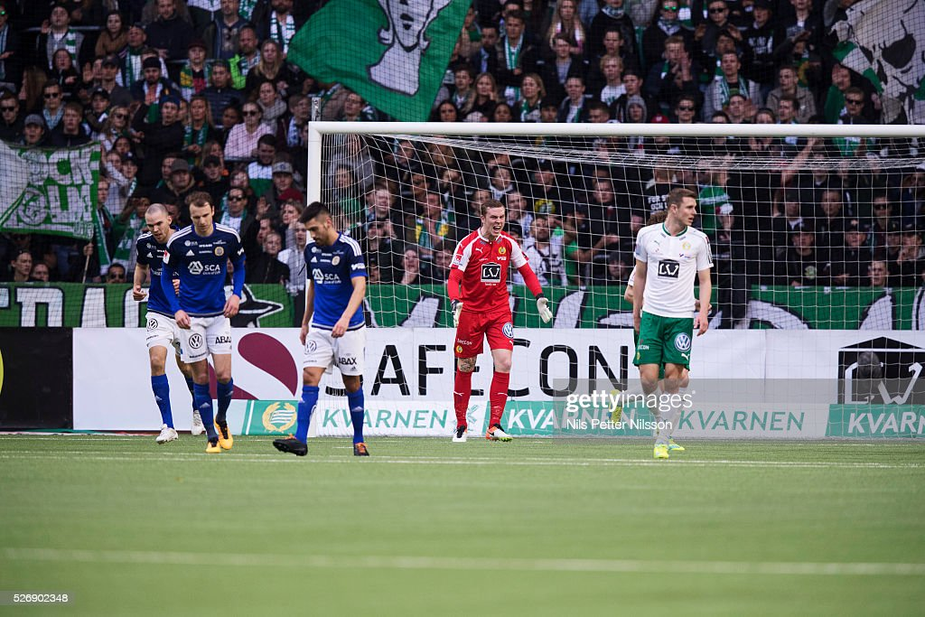 Ogmundur Kristinsson, goalkeeper of Hammarby IF reacts during the Allsvenskan match between Hammarby IF and GIF Sundsvall at Tele2 Arena on May 1, 2016 in Stockholm, Sweden.