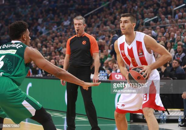 Ognjen Dobric #13 of Crvena Zvezda mts Belgrade competes with Axel Toupane #6 of Zalgiris Kaunas in action during the 2017/2018 Turkish Airlines...