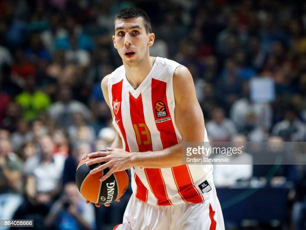 Ognjen Dobric of Crvena Zvezda in action during the 2017/2018 Turkish Airlines EuroLeague Regular Season game between Crvena Zvezda mts Belgrade and...