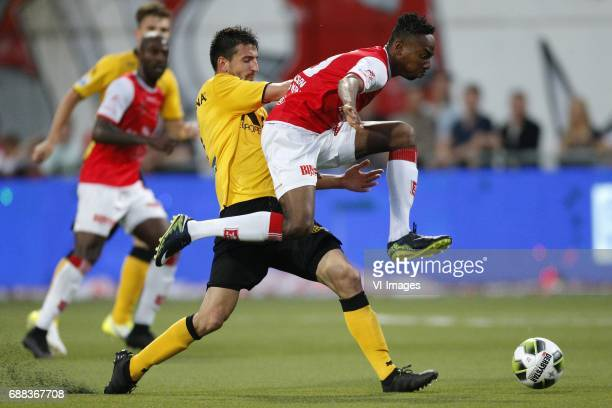 Ognjen Gjnatic of Roda JC Kelechi Nwakali of MVV Maastrichduring the Dutch Jupiler League playoffs final match between MVV Maastricht and Roda JC...