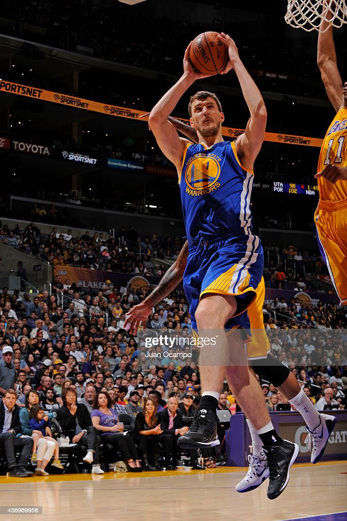 Ognjen Kuzmic #1 of the Golden State Warriors attempts a shot during a game against the Los Angeles Lakers on October 9, 2014 at the Staples Center in Los Angeles, California.