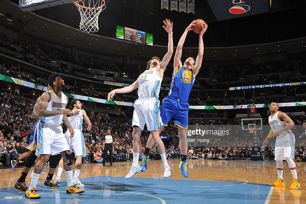 Ognjen Kuzmic #1 of the Golden State Warriors grabs a rebound against <a gi-track='captionPersonalityLinkClicked' href=/galleries/search?phrase=Jan+Vesely&family=editorial&specificpeople=5620499 ng-click='$event.stopPropagation()'>Jan Vesely</a> #24 of the Denver Nuggets on April 16, 2014 at the Pepsi Center in Denver, Colorado.
