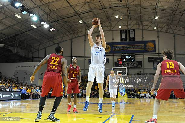 Ognjen Kuzmic of the Santa Cruz Warriors shoots against Ramon Harris of the Fort Wayne Mad Ants in Game Two of the NBA DLeague Finals on April 26...