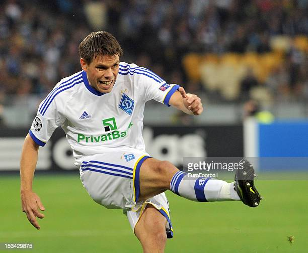 Ognjen Vukojevic of FC Dynamo Kyiv in action during the UEFA Champions League group stage match between FC Dynamo Kyiv and GNK Dinamo Zagreb at the...