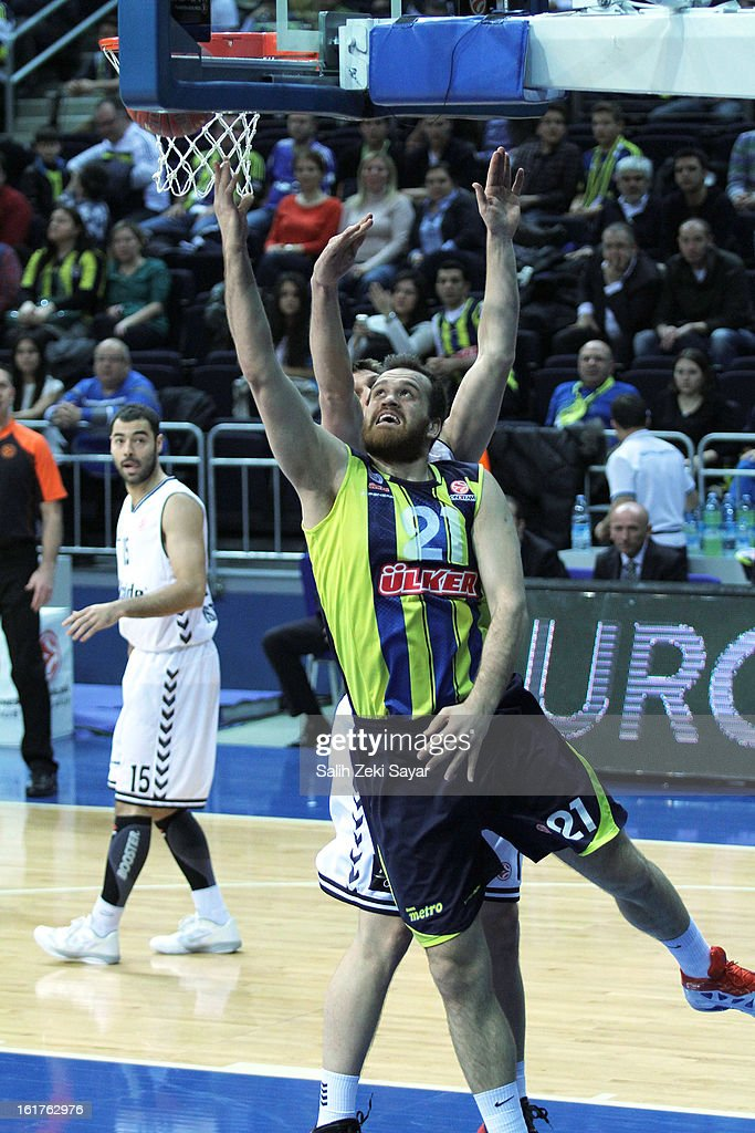 Oguz Savas #21 of Fenerbahce Ulker Istanbul in action during the 2012-2013 Turkish Airlines Euroleague Top 16 Date 7 between at Fenerbahce Ulker Sports Arena on February 15, 2013 in Istanbul, Turkey.