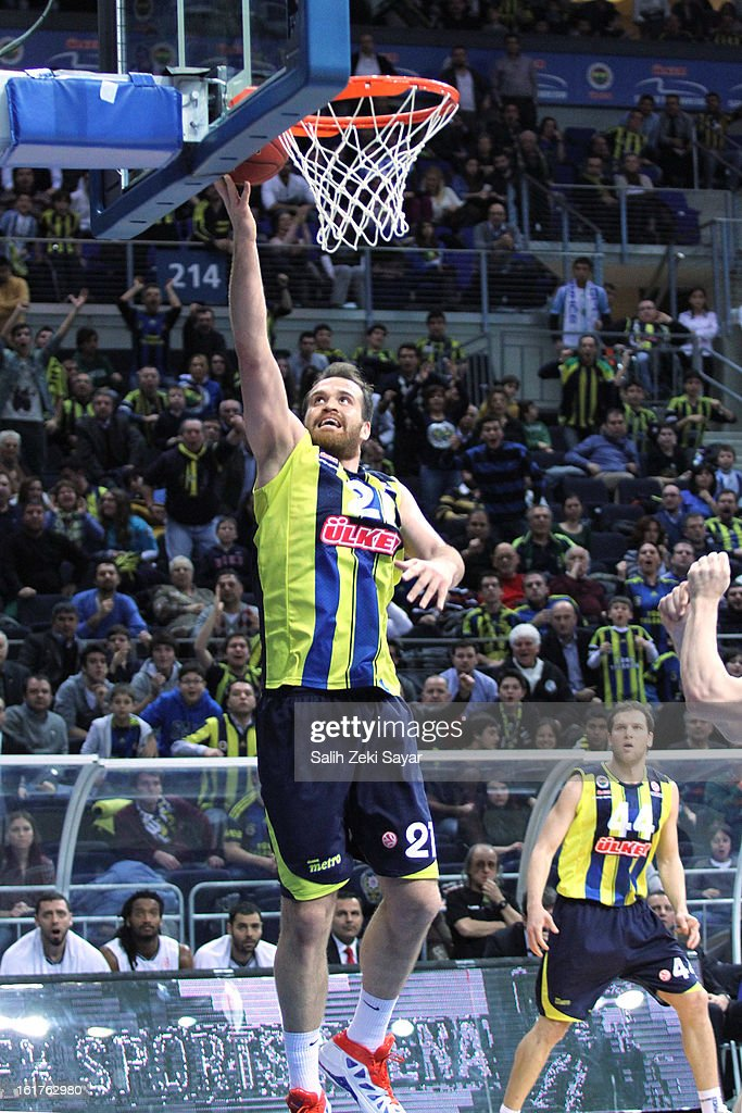 Oguz Savas #21 of Fenerbahce Ulker Istanbul in action during the 2012-2013 Turkish Airlines Euroleague Top 16 Date 7 between Fenerbahce Ulker Istanbul v Besiktas JK Istanbul at Fenerbahce Ulker Sports Arena on February 15, 2013 in Istanbul, Turkey.