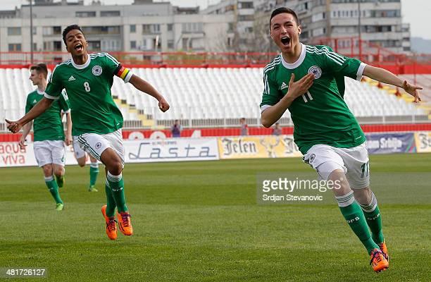 Oguzhan Aydogan of Germany celebrates scoring a goal during the UEFA Under17 Elite Round between Serbia and Germany at Stadion Karadjordje on March...