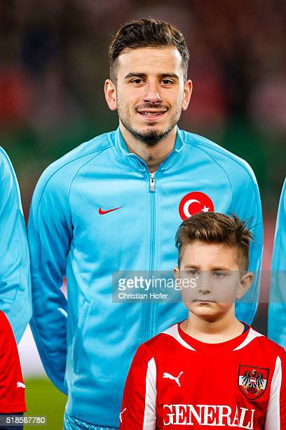 Oguzhan Oezyakup of Turkey lines up during the national anthem prior to the international friendly match between Austria and Turkey at...