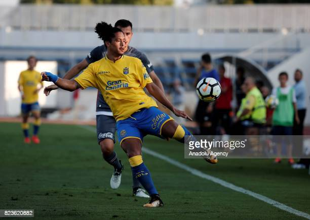 Oguzhan Ozyakup of Besiktas in action against Mauricio Lemos during a friendly match between Besiktas and Las Palmas as part of their training...
