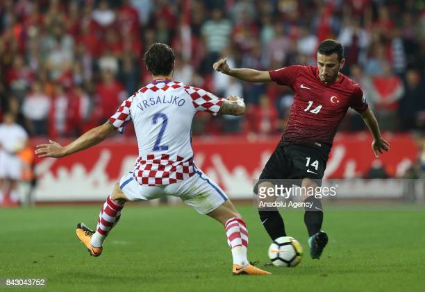 Oguzhan Ozyakup of Turkey in action against Vrsaljko of Belgium during the 2018 FIFA World Cup qualification Group I match between Turkey and Croatia...