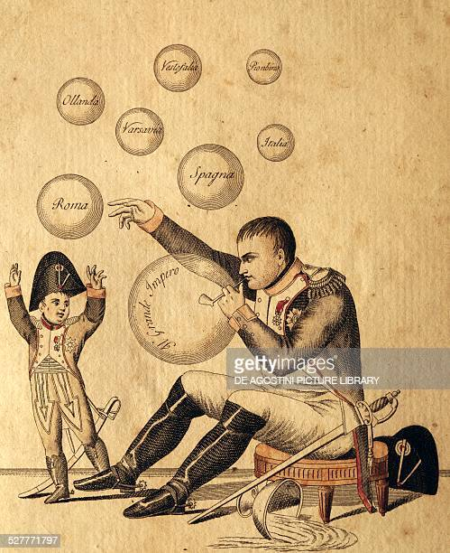 Oh dad how many beautiful bubbles you have made ca 1807 to 1813 antiNapoleonic satirical drawing published in Venice Italy 19th century Venezia Museo...