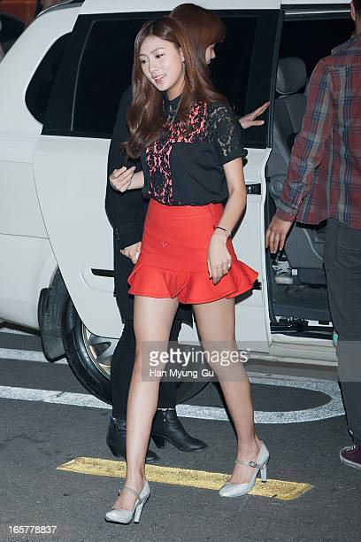 Oh HaYoung of South Korean girl group A Pink poses for media the 'United Nude' flagship store opening at United Nude Gangnam Store on April 5 2013 in...