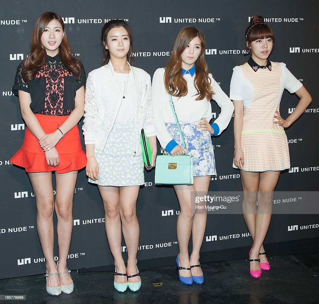 Oh Ha-Young, Yoon Bo-Mi, Park Cho-Rong and Kim Nam-Joo of South Korean girl group A Pink pose for media the 'United Nude' flagship store opening at United Nude Gangnam Store on April 5, 2013 in Seoul, South Korea.