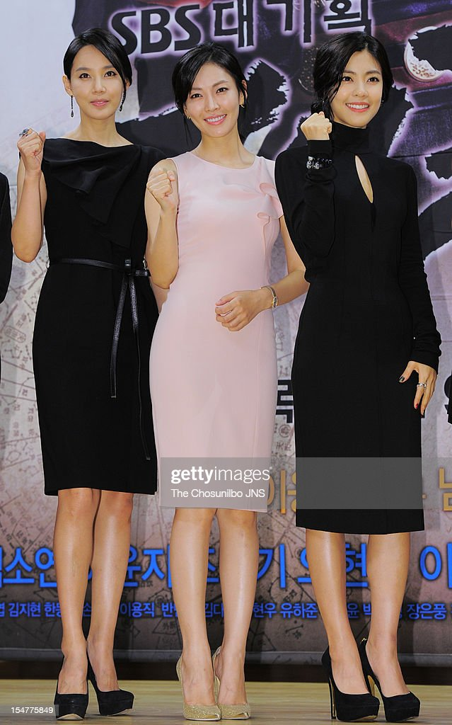 Oh Hyun-Kyung, <a gi-track='captionPersonalityLinkClicked' href=/galleries/search?phrase=Kim+So-Yeon&family=editorial&specificpeople=4531425 ng-click='$event.stopPropagation()'>Kim So-Yeon</a>, and Lee Yoon-Ji attend the SBS Drama 'The Great Seer' Press Conference at SBS Building on September 26, 2012 in Seoul, South Korea.