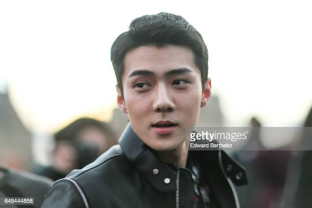 Oh Sehun Korean singer from EXO and actor is seen before the Louis Vuitton show during Paris Fashion Week Womenswear Fall/Winter 2017/2018 on March 7...