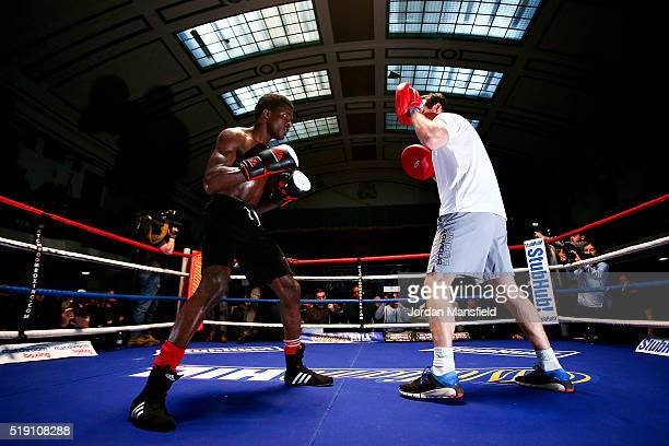 Ohara Davies performs a public workout at York Hall on April 4 2016 in London England