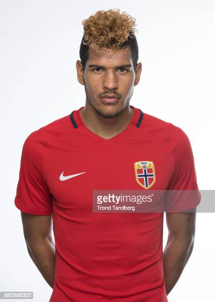 Ohikhuaeme Anthony Omoijuanfo of Norway National Team during Photocall at Ullevaal Stadion on June 5 2017 in Oslo Norway
